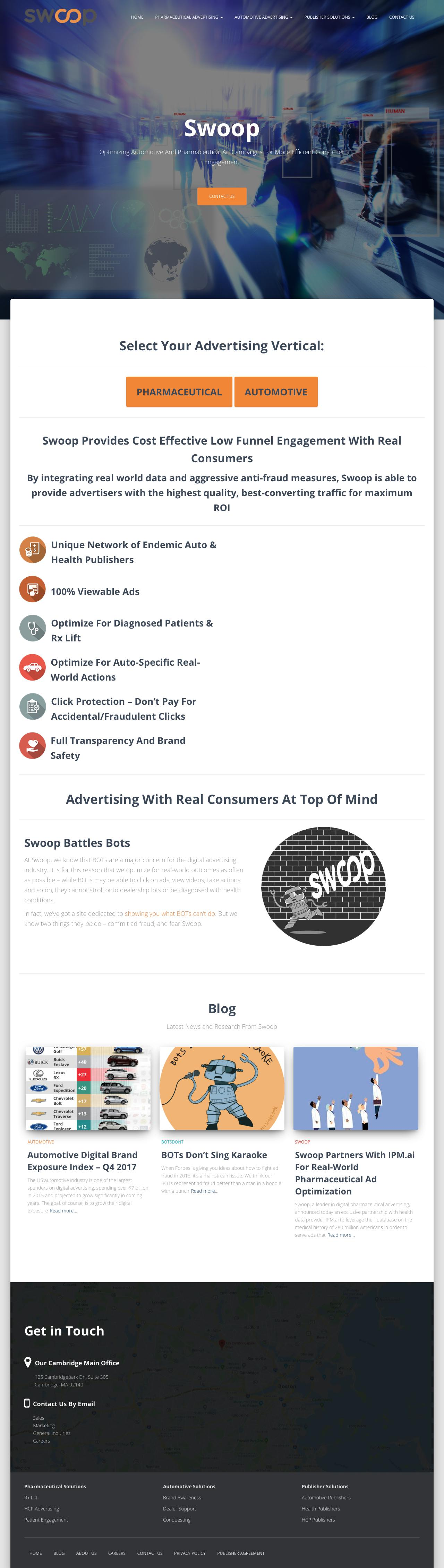 Screenshot of swoop.com - Swoop – Real-World Success For Automotive and Pharmaceutical Advertisers - captured March 17, 2018