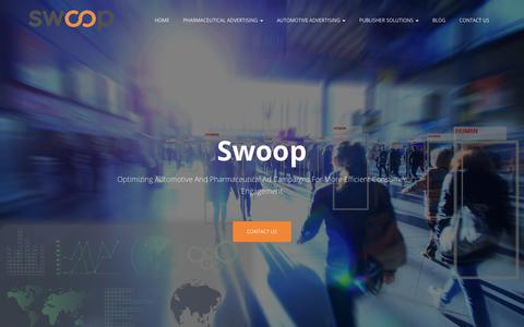 Screenshot of Home Page swoop.com - Swoop – Real-World Success For Automotive and Pharmaceutical Advertisers - captured March 17, 2018