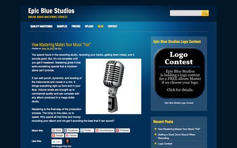 Screenshot of Blog epicbluestudios.com - Epic Blue Studios | Online Audio Mastering Services - captured Sept. 30, 2014