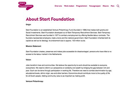 Screenshot of About Page startfoundation.nl - StartFoundation Corporate | About Start Foundation - captured Sept. 21, 2018