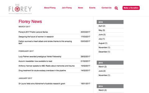 Screenshot of Press Page florey.edu.au - Florey News | The Florey - Institute of Neuroscience and Mental Health - captured April 4, 2017