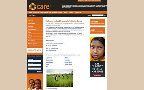Screenshot of Press Page care.org.au - Media - CARE Australia - captured Sept. 19, 2014