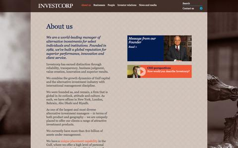 Screenshot of About Page investcorp.com - About us | Investcorp - captured Jan. 9, 2016