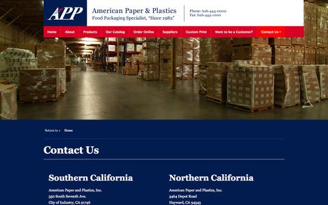 Screenshot of Contact Page appinc.com - Contact Us | American Paper & Plastics - captured Oct. 4, 2014