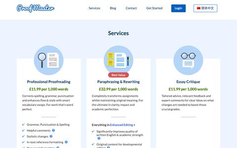 Screenshot of Services Page proofmaster.co.uk - Services • Proof Master - captured Oct. 1, 2018