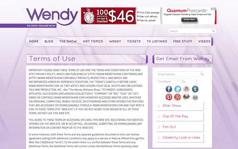 Screenshot of Contact Page Terms Page wendyshow.com - Terms of Use | The Wendy Williams Show - captured Sept. 25, 2014