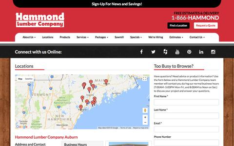 Screenshot of Contact Page Locations Page hammondlumber.com - Locations | Hammond Lumber Company - captured Jan. 7, 2018