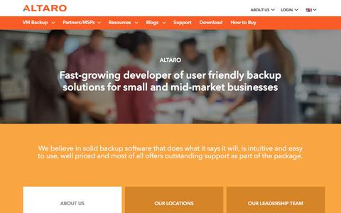 Screenshot of About Page altaro.com - About Altaro Software - Solid Backup Software for SMBs - captured Aug. 8, 2017