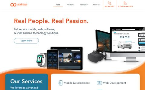 Screenshot of Home Page saritasa.com - Real People, Real Passion. – Saritasa is a leading custom Mobile App, Web, Software, Systems Architect, and IoT Solutions developer intensely focused on helping companies succeed through efficient, advanced technology. – Saritasa - captured July 19, 2019
