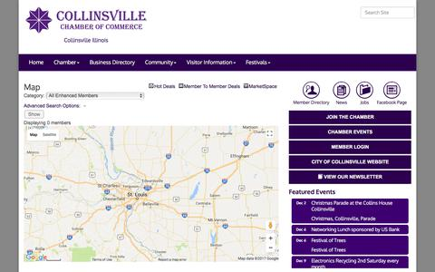 Screenshot of Maps & Directions Page discovercollinsville.com - Map - Collinsville Chamber of Commerce, IL - captured Dec. 2, 2017