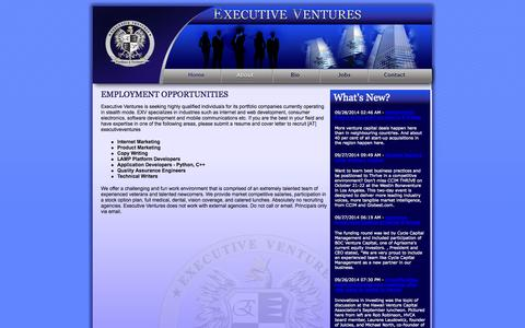Screenshot of Jobs Page executiveventures.com - Venture Capital & Entrepreneurs: Innovative Investment Strategies - captured Sept. 30, 2014