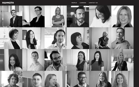 Screenshot of Team Page mammoth.tv - Mammoth - Brand Creation, Design, Digital and Advertising in Belfast, Northern Ireland - Home - captured Sept. 30, 2014