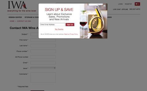 Screenshot of Contact Page iwawine.com - Contact Us | IWA - captured Oct. 14, 2017