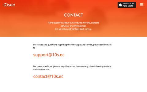Screenshot of Contact Page 10s.ec - 10sec CONTACT - captured Dec. 17, 2014