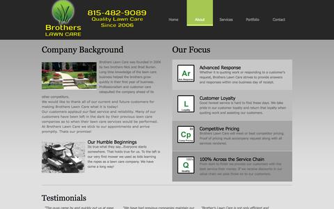 Screenshot of About Page brotherslawncare.net - Brothers Lawn Care - captured Sept. 30, 2014