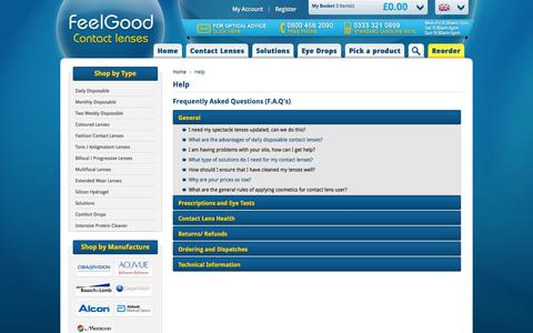 Screenshot of FAQ Page feelgoodcontacts.com - Frequently Asked Questions (F.A.Q's) | Feelgoodcontacts.com® - captured Nov. 1, 2014