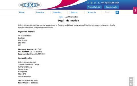 Screenshot of Terms Page originstorage.com - Legal Information - Origin Storage - captured Nov. 30, 2016