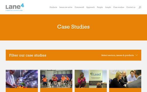 Screenshot of Case Studies Page lane4performance.com - People development case studies - captured Jan. 25, 2016