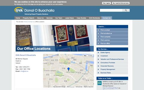 Screenshot of Locations Page gvadob.ie - GVA Donal O Buachalla   Delivering Expert Property Solutions - captured Oct. 1, 2014