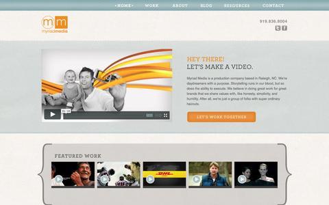 Screenshot of Home Page myriadmedia.net - Video Production Raleigh-Durham, North Carolina | Myriad Media - captured Sept. 30, 2014