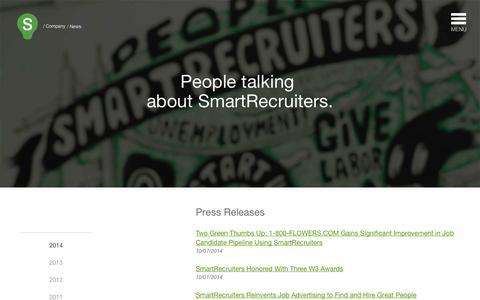 Screenshot of Press Page smartrecruiters.com - SmartRecruiters News   SmartRecruiters - captured Oct. 10, 2014