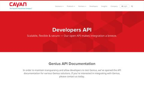 Screenshot of Developers Page cayan.com - Genius API and Documentation - Payments Integration -  | Cayan - captured Jan. 10, 2016