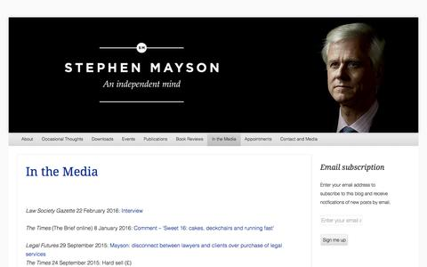 Screenshot of Press Page stephenmayson.com - In the Media | StephenMayson - captured Aug. 16, 2016
