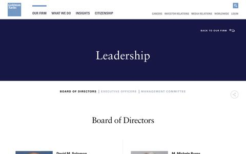 Screenshot of Team Page goldmansachs.com - Goldman Sachs   Board of Directors - captured Feb. 13, 2019