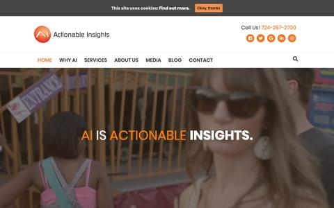Screenshot of Home Page thepowerofai.com - Actionable Insights - Digital Marketing. Smarter. - It all starts with data. - captured May 27, 2019