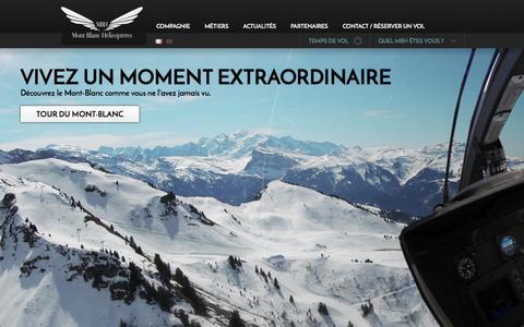 Screenshot of Home Page mbh.fr - MBH / Accueil - Mont-Blanc Hélicoptères - Transport public, Travail aérien en hélicoptère - captured Oct. 3, 2014