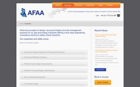 Screenshot of About Page afaa.co.uk - AFAA » Providers of design, structural integrity and risk management solutions - captured Sept. 30, 2014
