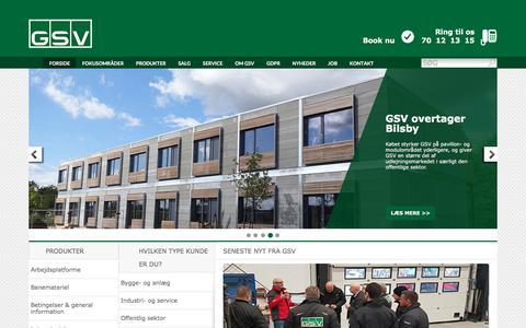 Screenshot of Home Page gsv.dk - GSV - Professionel materieludlejning - captured Sept. 25, 2018