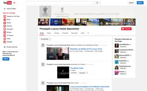Screenshot of YouTube Page youtube.com - Pineapple Luxury Hotels Specialists  - YouTube - captured Oct. 27, 2014
