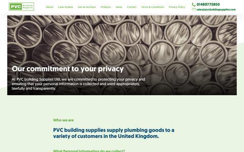 Screenshot of Privacy Page pvcbuildingsupplies.com - Privacy policy - captured Sept. 26, 2018