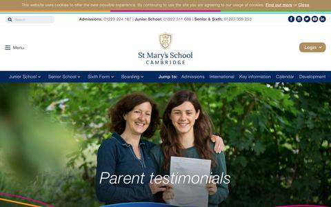 Screenshot of Testimonials Page stmaryscambridge.co.uk - Parent testimonials | St Mary's School, Cambridge - captured Oct. 24, 2017