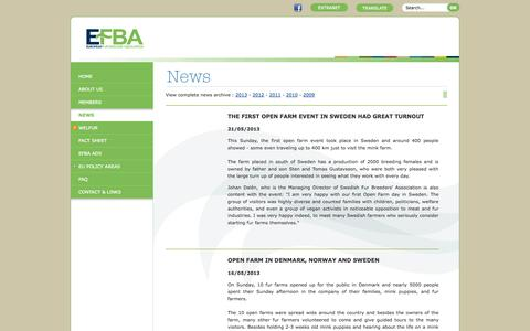 Screenshot of Press Page efba.eu - EFBA : the European Fur Breeder's Association - News - captured Oct. 3, 2014