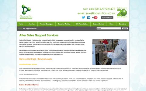 Screenshot of Support Page scientificss.co.uk - After Sales Support for Scientific Laboratory Equipment - captured Oct. 4, 2014