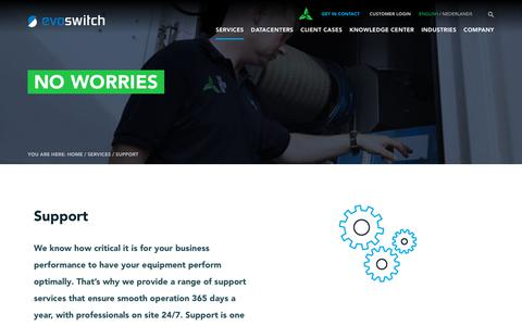 Screenshot of Support Page evoswitch.com - EvoSwitch provides 24/7 data center support services Evoswitch - captured July 22, 2018