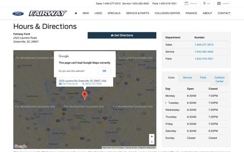 Screenshot of Maps & Directions Page Hours Page fairwayford.com - Fairway Ford Hours of Operation | Greenville Ford Dealer Directions - captured Oct. 10, 2018