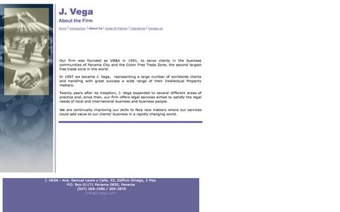 Screenshot of About Page j-vega.com - About the Firm - captured Oct. 3, 2014