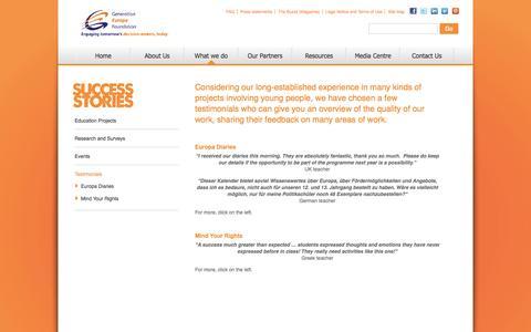Screenshot of Testimonials Page generation-europe.eu captured Oct. 2, 2014