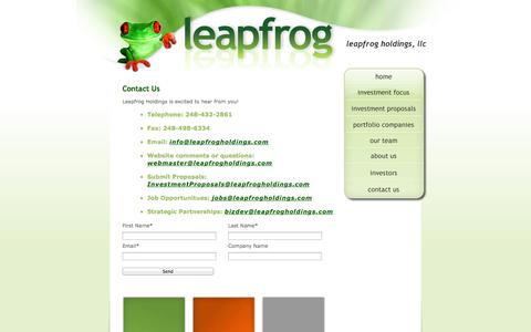 Screenshot of Contact Page leapfrogholdings.com - Leapfrog Holdings, LLC - captured Oct. 2, 2014