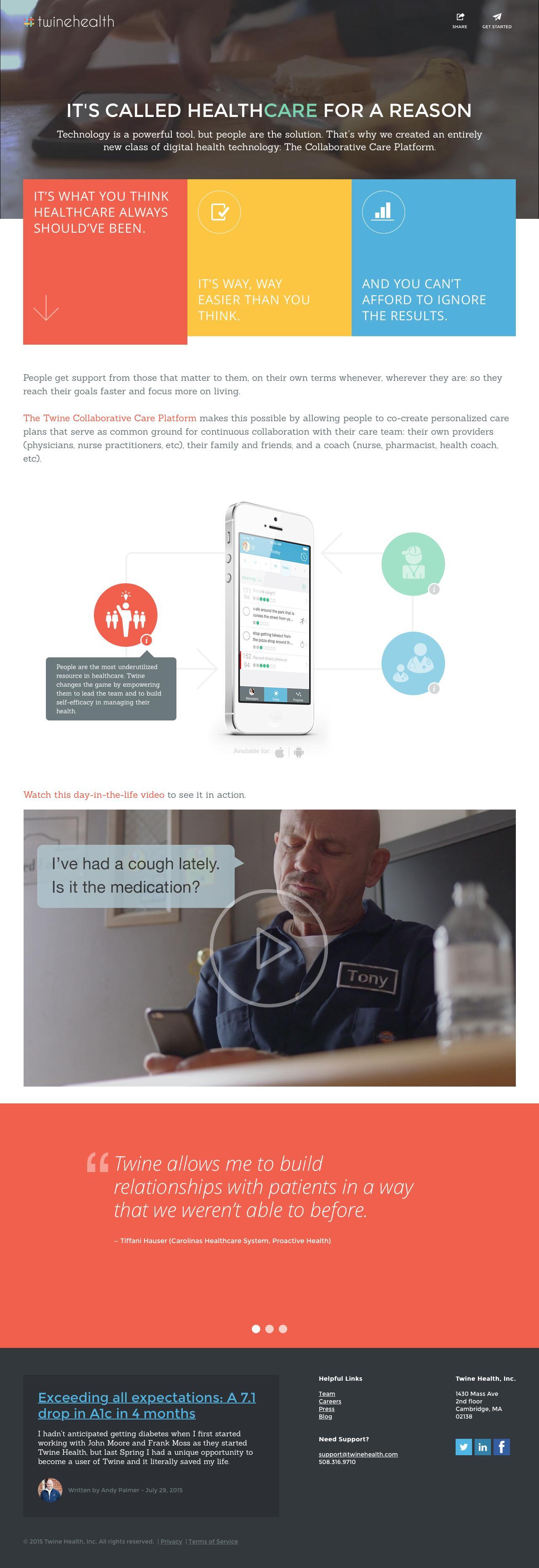 Screenshot of twinehealth.com - Twine Health - Technology for collaborative care - captured Aug. 12, 2015
