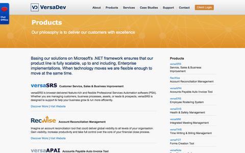 Screenshot of Products Page versadev.com - VersaDev Product Range - captured Oct. 7, 2014