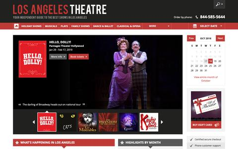 Screenshot of Home Page los-angeles-theatre.com - Los Angeles Theater: Broadway Shows, Musicals, Plays, Concerts in 2018/19 - captured Oct. 18, 2018
