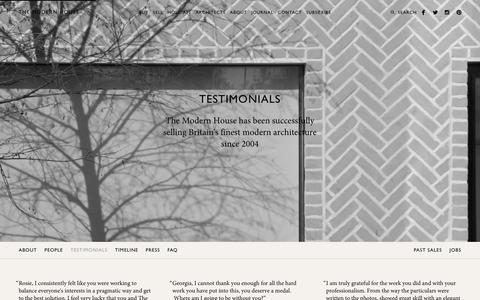 Screenshot of Testimonials Page themodernhouse.net - Testimonials | The Modern House - captured Jan. 12, 2016