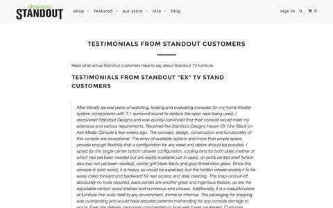 Screenshot of Testimonials Page standoutdesigns.com - Testimonials from Standout Designs Customers - captured Jan. 12, 2016