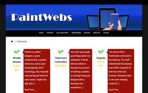 Screenshot of Testimonials Page paintwebs.com - Testimonials - captured Nov. 8, 2018