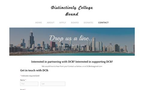 Screenshot of Contact Page dcbkids.org - Contact - Distinctively College Bound - captured Nov. 22, 2018