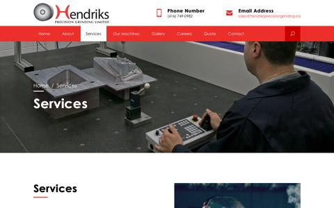Screenshot of Services Page hendriksprecisiongrinding.ca - Services - captured Sept. 28, 2018